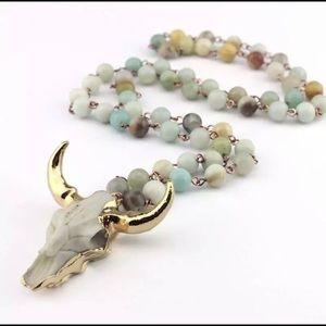 Jewelry - Bull Skull Amazonite Bead Necklace Boho Gypsy